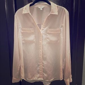 Pink long sleeve button down blouse